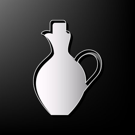 greek pot: Amphora sign illustration. Vector. Gray 3d printed icon on black background.