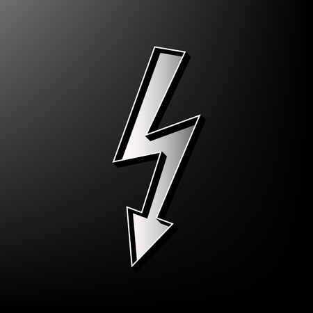 beware: High voltage danger sign. Vector. Gray 3d printed icon on black background. Illustration