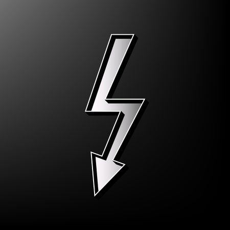 High voltage danger sign. Vector. Gray 3d printed icon on black background. Illustration