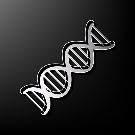 The DNA sign. Vector. Gray 3d printed icon on black background.