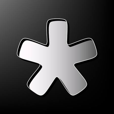 reference point: Asterisk star sign. Vector. Gray 3d printed icon on black background.
