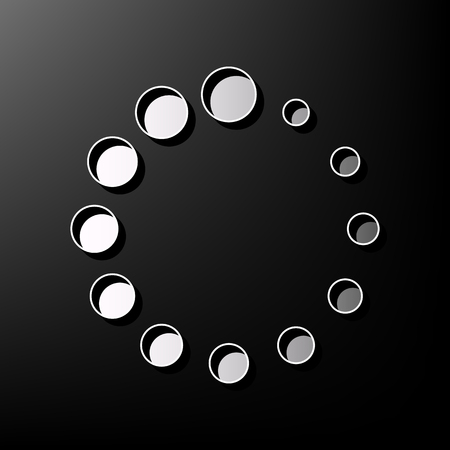 Circular loading sign. Vector. Gray 3d printed icon on black background.