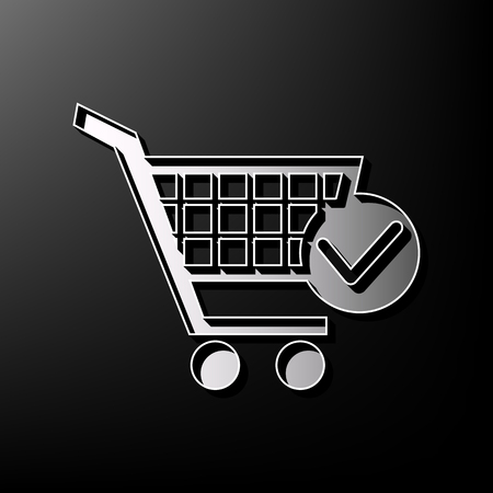 Shopping Cart with Check Mark sign. Vector. Gray 3d printed icon on black background.