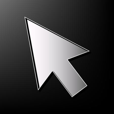 hyperlink: Arrow sign illustration. Vector. Gray 3d printed icon on black background. Illustration
