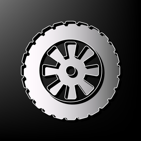 Road tire sign. Vector. Gray 3d printed icon on black background.