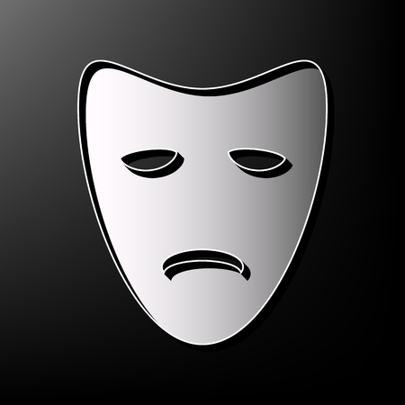 Tragedy theatrical masks. Vector. Gray 3d printed icon on black background.