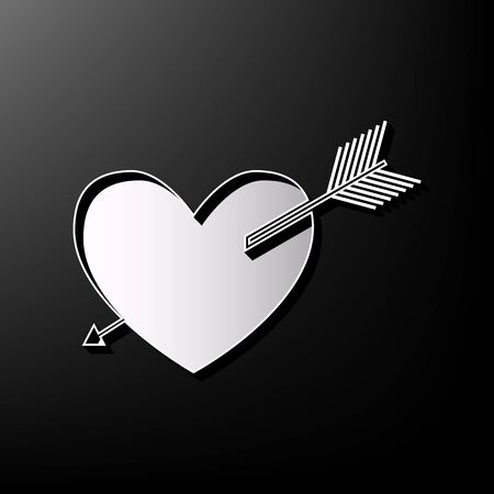 Arrow heart sign. Vector. Gray 3d printed icon on black background.