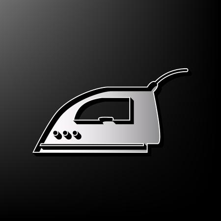 Signe de fer à lisser. Vecteur. Gris imprimé icône 3d sur fond noir. Vecteurs