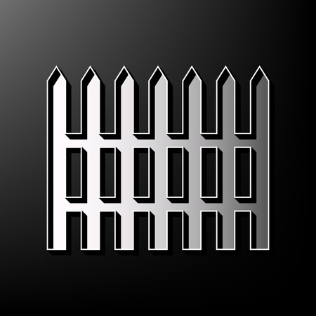 Fence simple sign. Vector. Gray 3d printed icon on black background. Illustration
