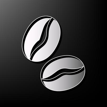 커피 콩 서명입니다. 벡터. 검정색 배경에 회색 3d 인쇄 아이콘입니다. 일러스트