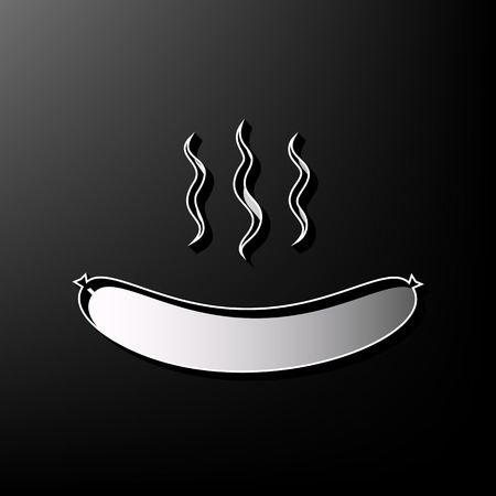 Sausage simple sign. Vector. Gray 3d printed icon on black background.