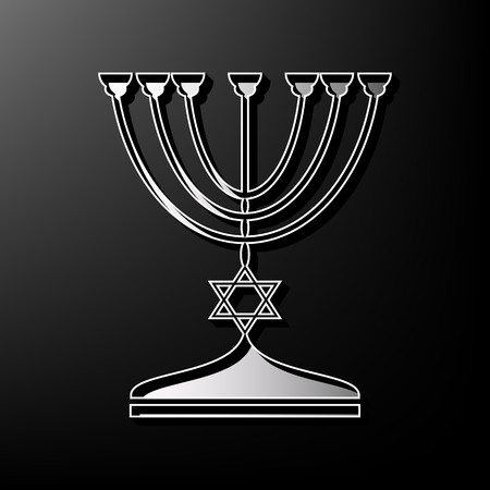 Jewish Menorah candlestick in black silhouette. Vector. Gray 3d printed icon on black background.