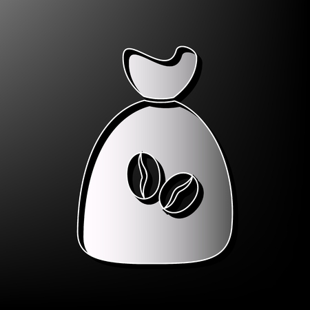 Coffee bag Icon. Coffee bag. Vector. Coffee bag Icon Button. Vector. Gray 3d printed icon on black background. Illustration