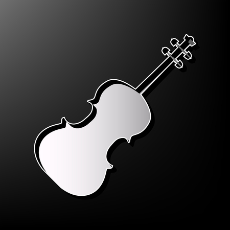 cellos: Violin sign illustration. Vector. Gray 3d printed icon on black background. Illustration