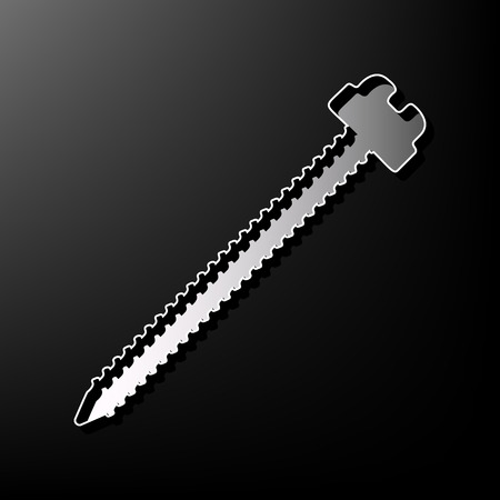 Screw sign illustration. Vector. Gray 3d printed icon on black background.