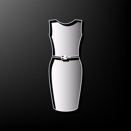 Dress sign illustration. Vector. Gray 3d printed icon on black background. Illustration