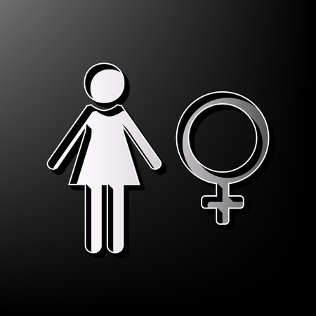 Female sign illustration. Vector. Gray 3d printed icon on black background.