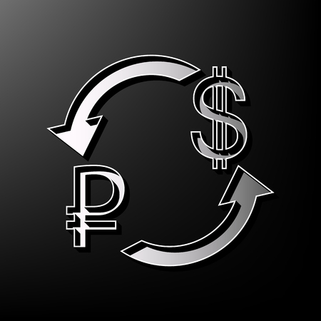 us currency: Currency exchange sign. Ruble and US Dollar. Vector. Gray 3d printed icon on black background.