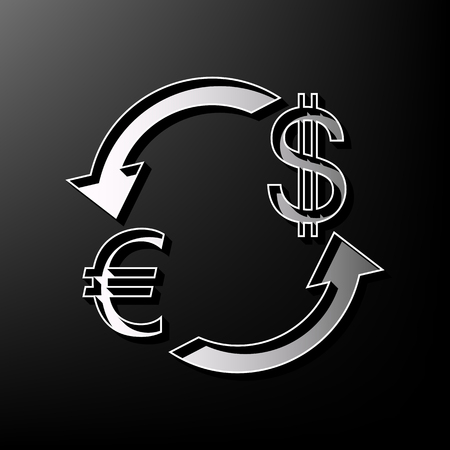 Currency exchange sign. Euro and US Dollar. Vector. Gray 3d printed icon on black background.