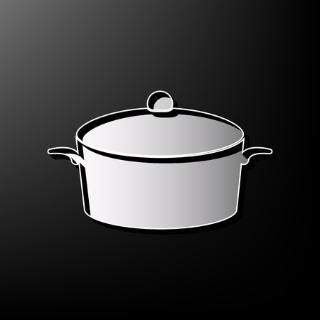 Pan sign. Vector. Gray 3d printed icon on black background. Illustration