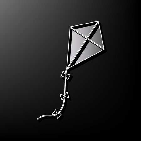 Kite sign. Vector. Gray 3d printed icon on black background.