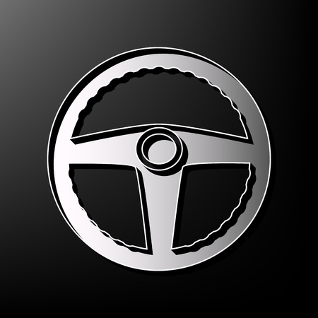 printed machine: Car driver sign. Vector. Gray 3d printed icon on black background.