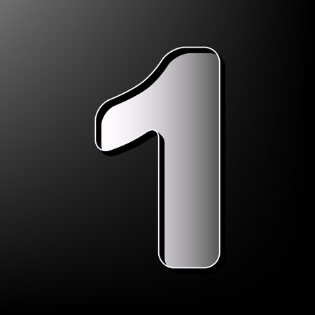 Number 1 sign design template element. Vector. Gray 3d printed icon on black background.