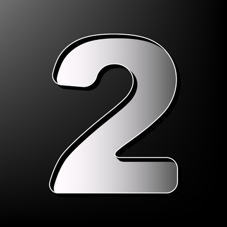 Number 2 sign design template elements. Vector. Gray 3d printed icon on black background.