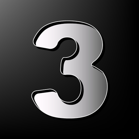 Number 3 sign design template element. Vector. Gray 3d printed icon on black background.