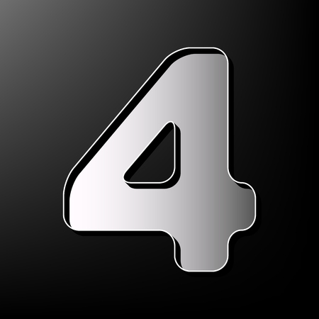 Number 4 sign design template element. Vector. Gray 3d printed icon on black background.