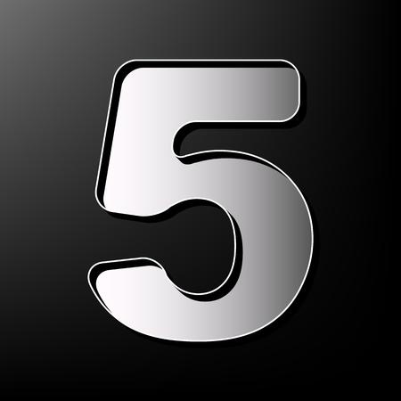 Number 5 sign design template element. Vector. Gray 3d printed icon on black background. Ilustração