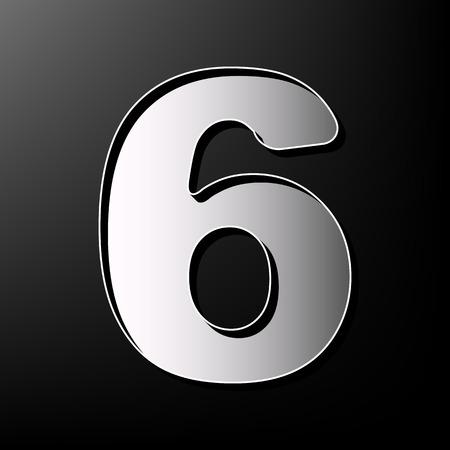Number 6 sign design template element. Vector. Gray 3d printed icon on black background. Ilustração