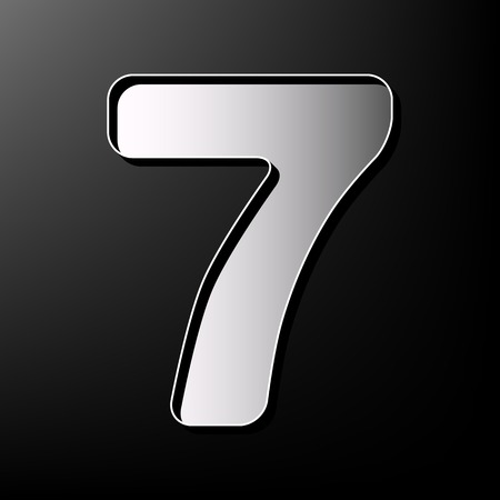 Number 7 sign design template element. Vector. Gray 3d printed icon on black background.