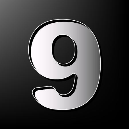 Number 9 sign design template element. Vector. Gray 3d printed icon on black background.