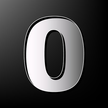 Number 0 sign design template element. Vector. Gray 3d printed icon on black background.