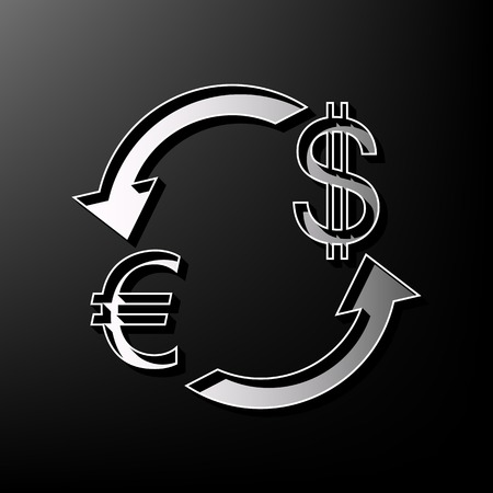 Currency exchange sign. Euro and Dollar. Vector. Gray 3d printed icon on black background.