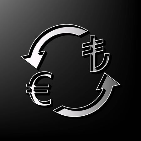 Currency exchange sign. Euro and Turkey Lira. Vector. Gray 3d printed icon on black background. Illustration