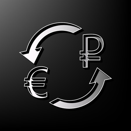 libra esterlina: Currency exchange sign. Euro and Russia Ruble. Vector. Gray 3d printed icon on black background. Vectores
