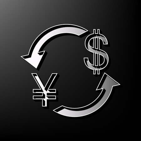 Currency exchange sign. Japan Yen and US Dollar. Vector. Gray 3d printed icon on black background.