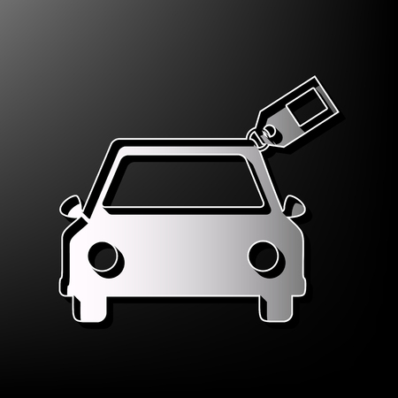 racing sign: Car sign with tag. Vector. Gray 3d printed icon on black background. Illustration
