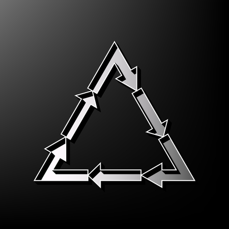v cycle: Plastic recycling symbol PVC 3 , Plastic recycling code PVC 3. Vector. Gray 3d printed icon on black background.