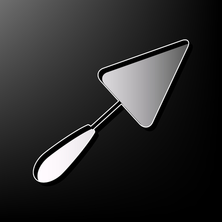 Trowel sign. Vector. Gray 3d printed icon on black background.