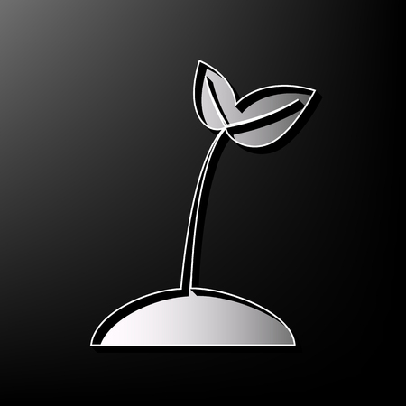 Sprout sign illustration. Vector. Gray 3d printed icon on black background. Иллюстрация