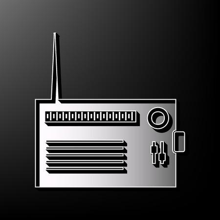 shortwave: Radio sign illustration. Vector. Gray 3d printed icon on black background.