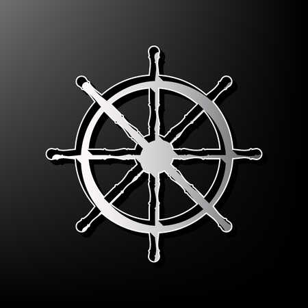 con: Ship wheel sign. Vector. Gray 3d printed icon on black background. Illustration