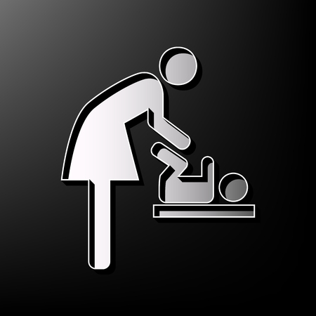 symbolize: Women and baby symbol, baby changing. Vector. Gray 3d printed icon on black background. Illustration
