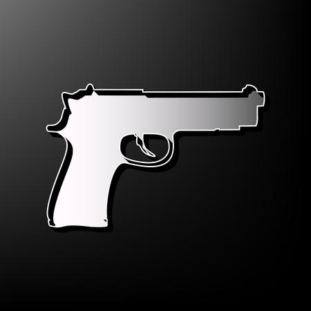printed machine: Gun sign illustration. Vector. Gray 3d printed icon on black background. Illustration