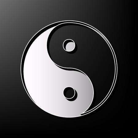 Ying yang symbole d'harmonie et d'équilibre. Vecteur. Gris imprimé icône 3d sur fond noir.