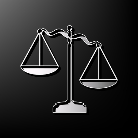 equilibrium: Scales of Justice sign. Vector. Gray 3d printed icon on black background.