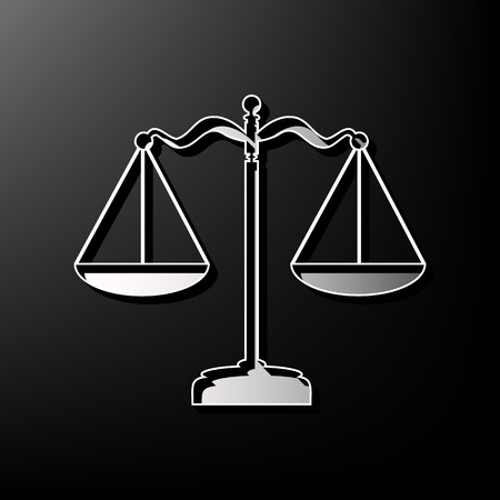 scale of justice: Scales balance sign. Vector. Gray 3d printed icon on black background. Illustration